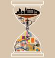 City factory in hourglass vector image