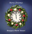 Traditional Christmas wreath with greeting text vector image