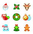 Kawaii Christmas icons vector image