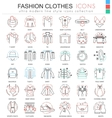 Clothes shoes color line outline icons for vector image