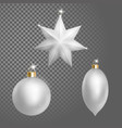 collection of christmas ball tree decoration white vector image
