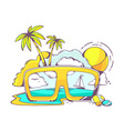 colored sunglasses with sea view vector image