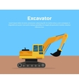 Excavator Banner Flat Design vector image