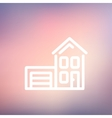 House with garage thin line icon vector image