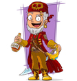Cartoon pirate in red cape with sword vector image