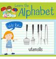 Flashcard letter U is for utensils vector image