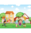 Children playing outside vector image vector image