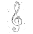 Black treble clef of music notes vector image