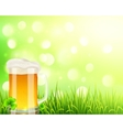 Pint of beer on bokeh light background vector image vector image