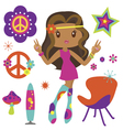 Hippie girl with psychedelic style elements vector image