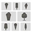 monochrome icons with ice cream vector image