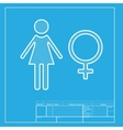 Female sign  White section of icon on vector image
