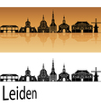 Leiden skyline in orange background in editable vector image vector image