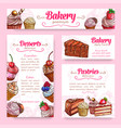 bakery and pastry desserts banner template set vector image
