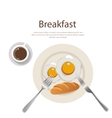 breakfast menu egg yolk with bread and cofee on vector image