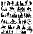 Children silhouettes children playing vector image