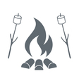 Fire and marshmellow icon vector image