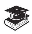 Graduation Cap and books vector image