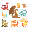 mythological animals set for label design dragon vector image