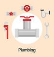 plumbing line tools set icons vector image