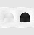 white and black baseball cap icon set front view vector image