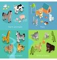 Wild Exotic and Farm Animal Set Isometric vector image