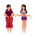 Woman measuring waist before and after loosing vector image