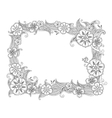 Floral hand drawn horizontal frame in zentangle vector image