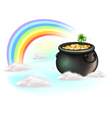 The golden coins and the rainbow vector image vector image