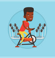 man riding stationary bicycle vector image