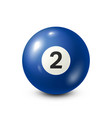 billiardblue pool ball with number 2snooker vector image