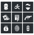 Criminal on the run and wanted icons set vector image