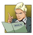 People in retro style The man with instructions vector image