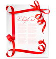 card with red bows and red ribbons vector image vector image