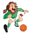 lion mascot playing soccer vector image