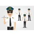 Young friendly pilot with sunglasses vector image
