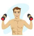 bodybuilder guy doing exercises with dumbbells vector image