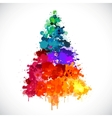 Colorful abstract paint spash Christmas tree vector image
