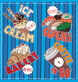 set of emblems of drink and food vector image
