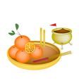 Golden Orange Fruits for New Year Worship vector image