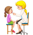 Doctor checking up the girl vector image vector image