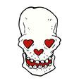 comic cartoon skull with love heart eyes vector image