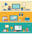 set of thin line flat design workspace designer vector image