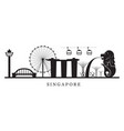 singapore landmarks skyline in black and white vector image