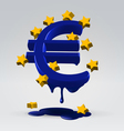 Euro melting dripping vector image