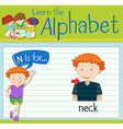 Flashcard letter N is for neck vector image