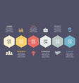 timeline hexagons infographic diagram vector image