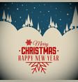 retro night snowy christmas card vector image