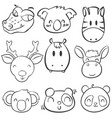 Collection stock animal head hand draw vector image