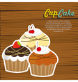 cupcakes on wooden background vector image